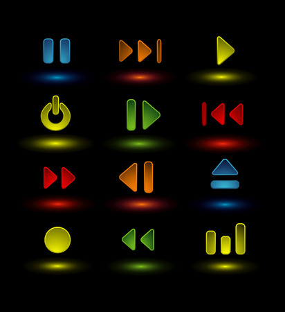 player controls: neon music icons