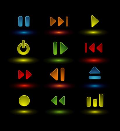 iconos de la música de neón