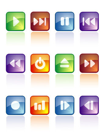 glossy music buttons for web and internet Stock Vector - 5624600
