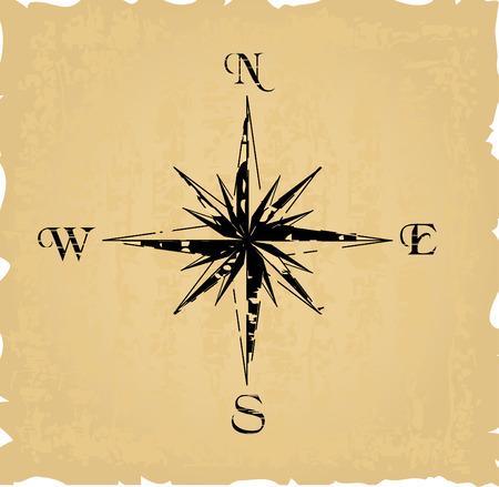 black grunge compass. Vector illustration Vector