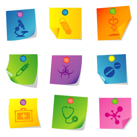 Vector illustration of icons on paper. Set fifteen Stock Vector - 5763087