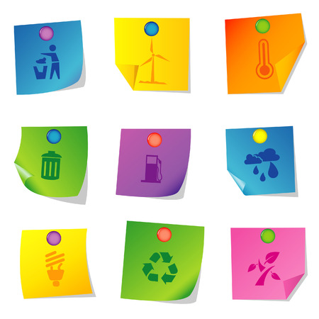 Vector illustration of icons on paper. Set nine Stock Vector - 5763080