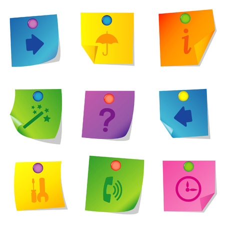 Vector illustration of icons on paper. Set seven Stock Vector - 5763074