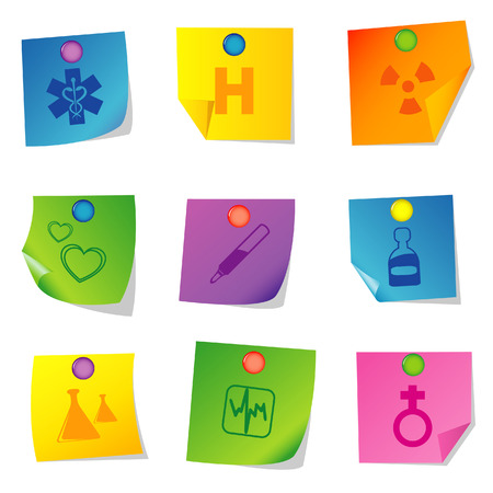 Vector illustration of icons on paper. Set sixteen Stock Vector - 5763082