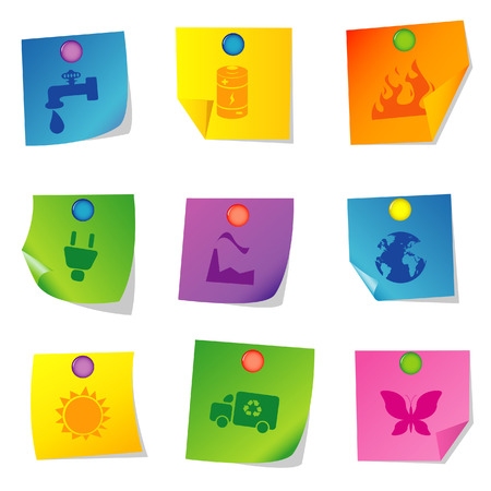 Vector illustration of icons on paper. Set ten Stock Vector - 5763088