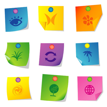 Vector illustration of icons on paper. Set twelve Illustration