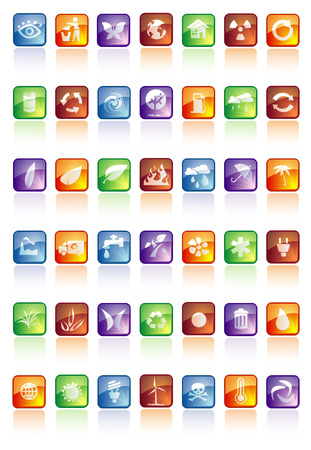 glossy buttons with icons Stock Vector - 5903299