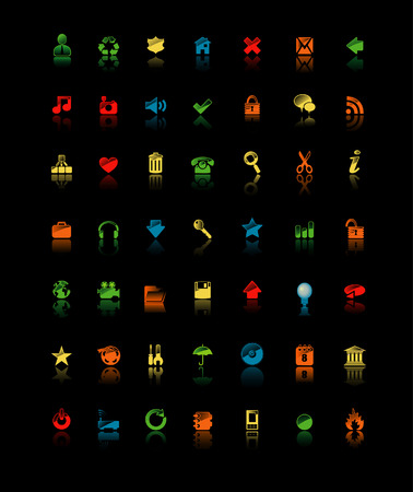 Icons isolated on black Stock Vector - 5903294