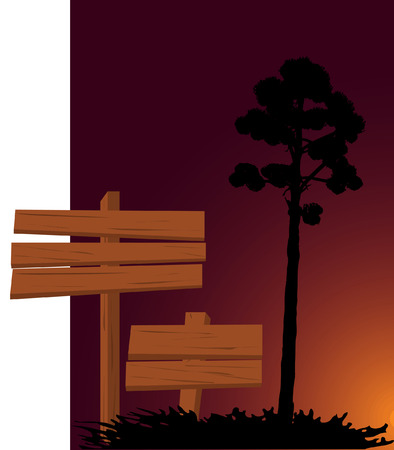 picture with signs and tree Stock Vector - 5903288