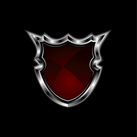 red shield isolated on black Stock Vector - 5903289