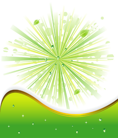 green background with rays adn drops Stock Illustratie