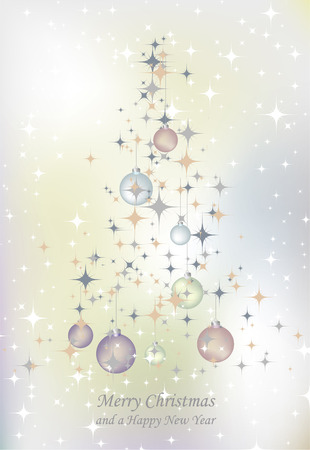 Vector illustration of abstract Christmas tree with stars Vector