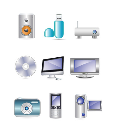 vector illustration of media icons for web and internet Stock Vector - 6025417