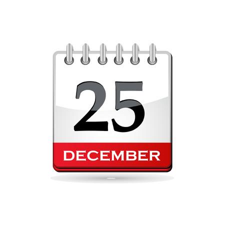 calendario: Ilustraci�n vectorial de calendario con la fecha de Navidad Vectores