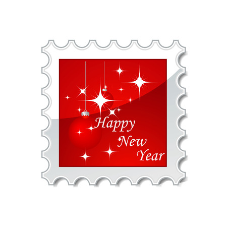 stamp vector: Vector illustration of red New Year stamp  Illustration