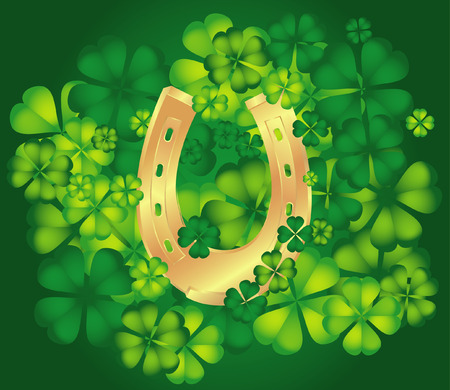 background with horseshoe and clovers. Vector illustration Vector