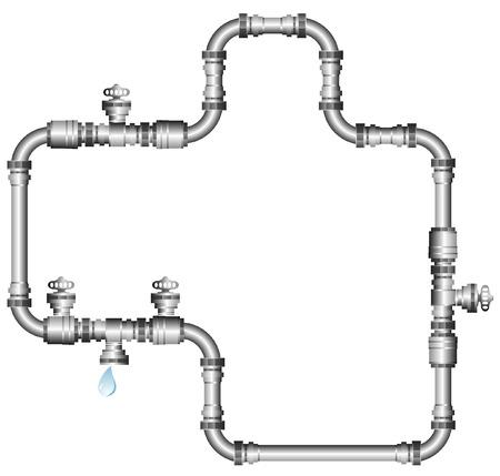 tuberias de agua: Ilustraci�n vectorial de tuber�as de agua aislados en blanco