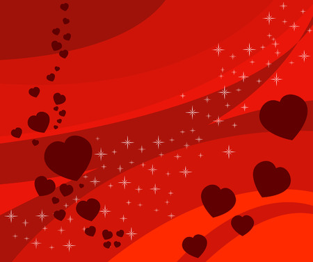Red vector background with hearts and stars  Vector
