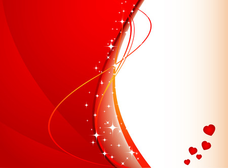 valentines background with hearts, stars and waves Vector