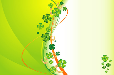 vector background with clovers and gold horseshoes Vector