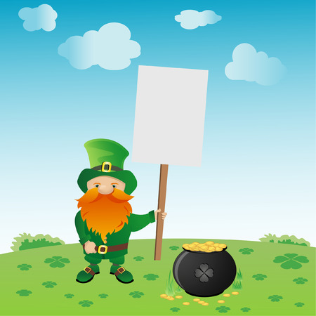 Vector illustration of Leprechaun with pot of gold Vector