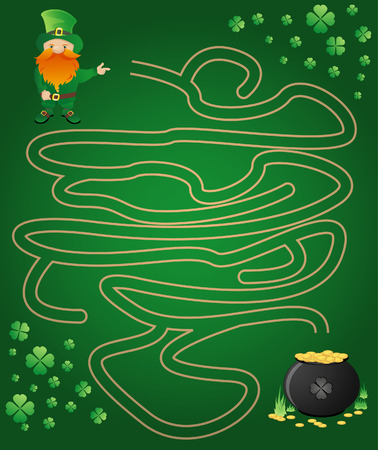 Leprechaun, maze and a pot of gold Vector