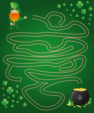 Leprechaun, maze and a pot of gold