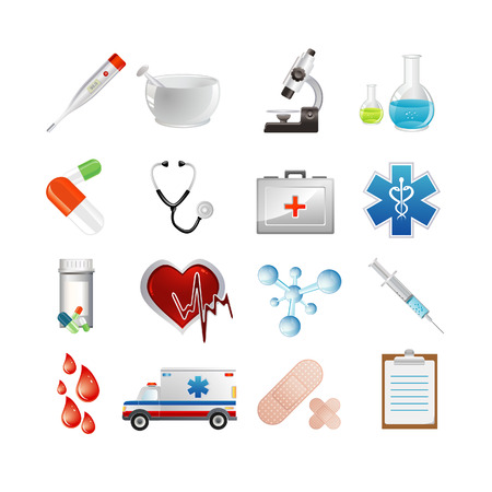 medicine icons: Vector illustration of medicine icons. Set one