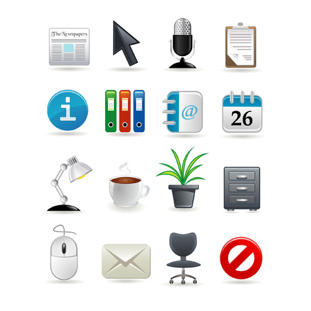 mail icon: Office icon set for web.  illustration Illustration