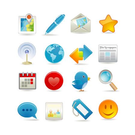 interaccion social: Ilustraci�n vectorial de conjunto de iconos de medios de comunicaci�n social