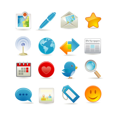 calendar icons: Vector illustration of social media icon set