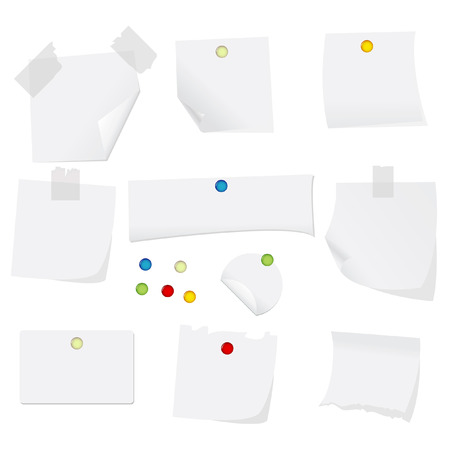 vector illustration of white paper with pins Illustration