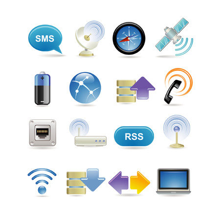 telecom: Wireless icon set Illustration