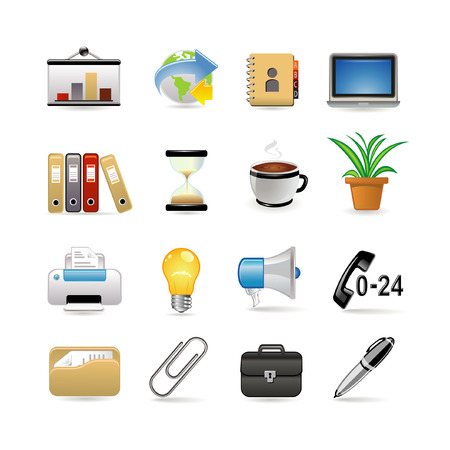 office icons: Business and office icon set.  illustration