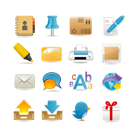 Post office icon set Vector