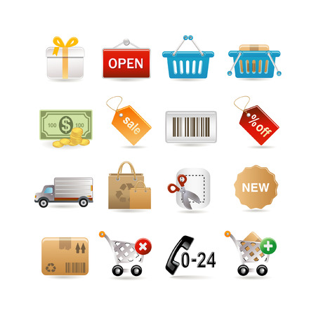 Shopping icon set.  illustration Vector