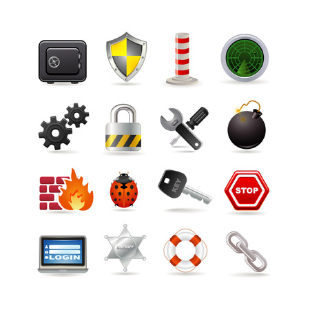 firewall: Illustration of security icon set Illustration