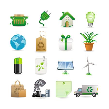 bombillo ahorrador: Conjunto de iconos de medio ambiente