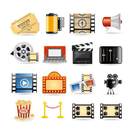camara de cine: Conjunto de icono de pel�cula