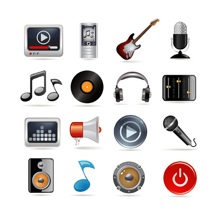 Set of sixteen music icons Stock Vector - 6779847