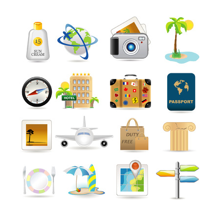 Illustration of vacation and travel icons Vector