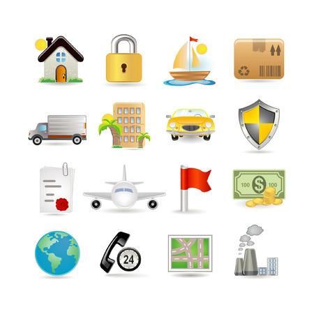 Illustration of insurance icon set Vector