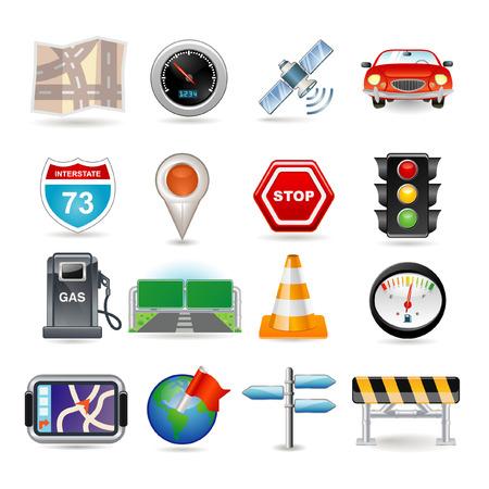 se�ales trafico: Ilustraci�n de conjunto de iconos de navegaci�n
