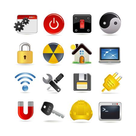 gear box: Illustration of settings icon set