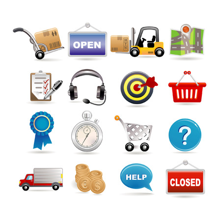 shopping and logistic icon set Vector