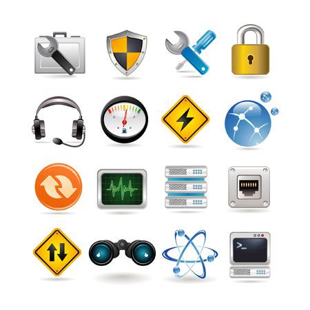 cable de red: Ilustraci�n de conjunto de iconos de red  Vectores
