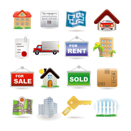 Illustration of real estate icon set Vector