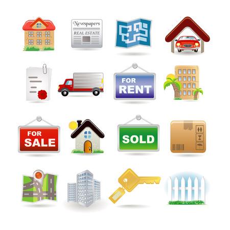 symbol fence: Illustration of real estate icon set