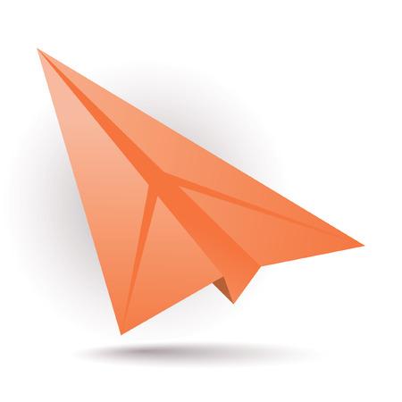 paper craft: Avi�n de papel naranja  Vectores