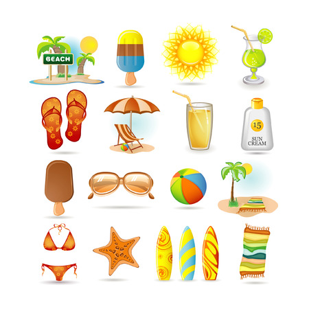 citrus tree: conjunto de icono de playa Vectores